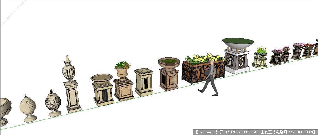 多款欧式花钵景观设计su模型