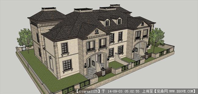 法式联排别墅建筑规划设计方案精细su模型