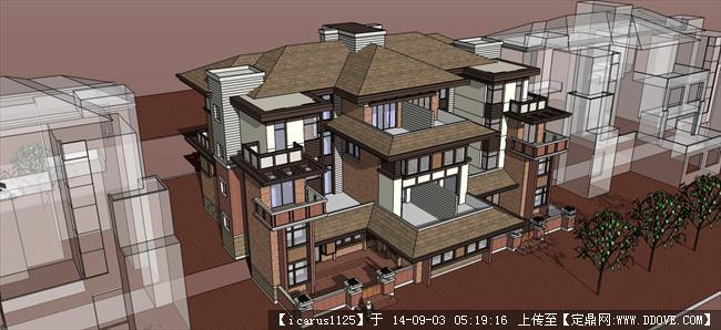 大型歐式別墅建筑設計方案su模型