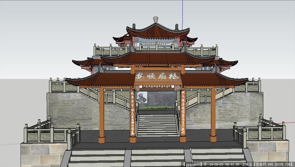 成都安顺廊桥园林景观设计su模型