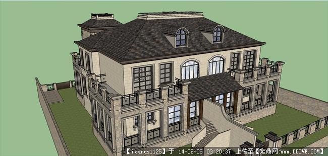 法式双拼大别墅建筑设计方案su模型