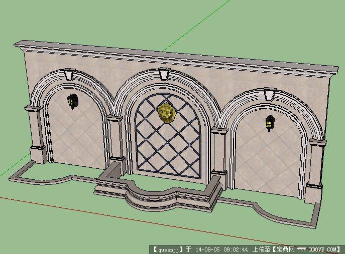 欧式 景 墙园林景观 设计su模型