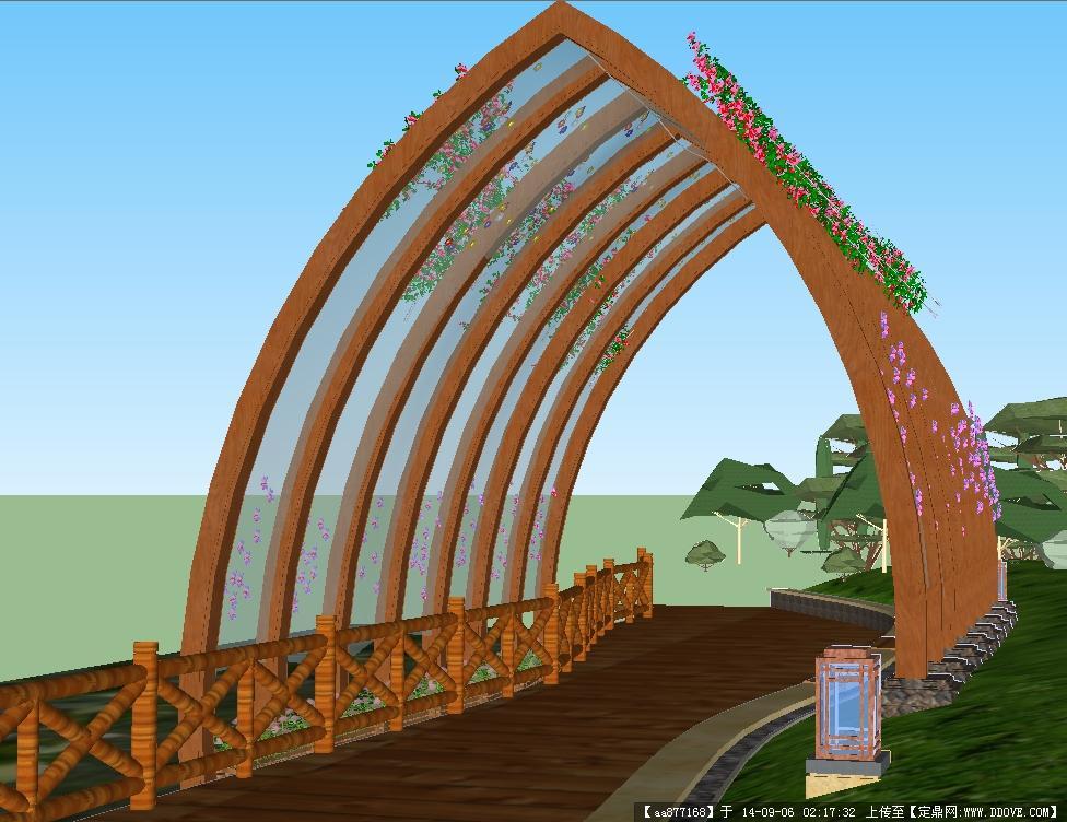 湿地廊架景观小品设计精细sketchup模型