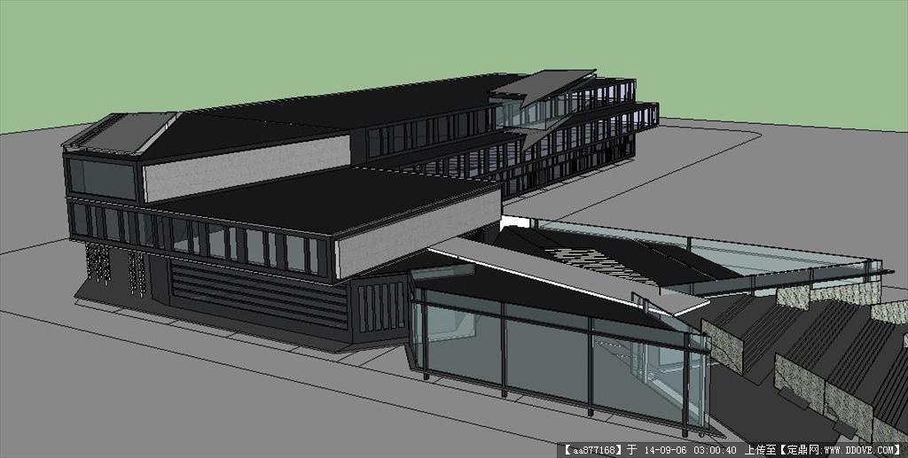 大学校园内商业建筑设计精细sketchup设计模型