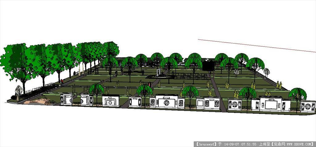 > 景观模型   精品推荐 su模型—8*4水景阳台园林景观设计 厂区门卫室