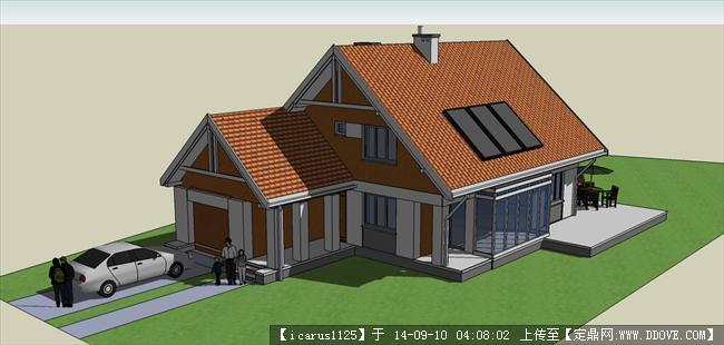 简约现代小别墅建筑设计su模型