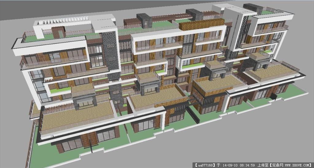 多层商业街区建筑设计精细su设计模型