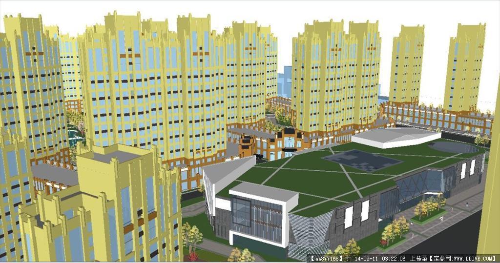 沿街商业)建筑规划设计精细sketchup模型,很详细的建筑设计资