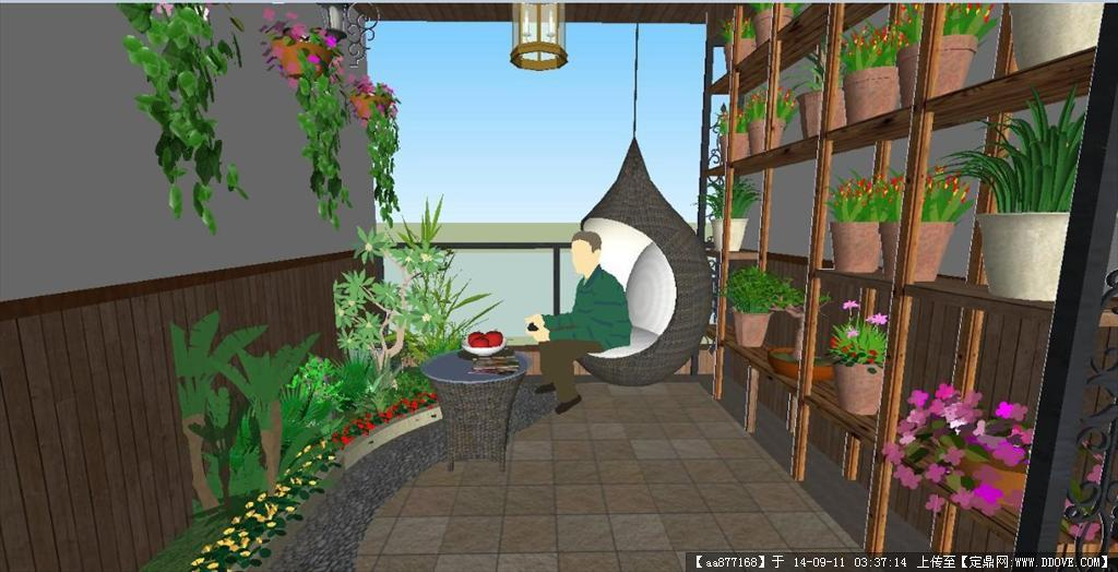 su模型—8*4水景阳台园林景观设计 厂区门卫室景观设计效果图psd格式