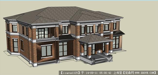 欧式会所别墅建筑设计方案su模型