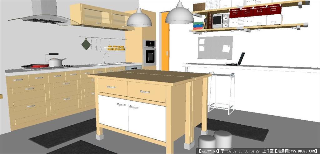 厨房室内设计方案精细sketchup模型