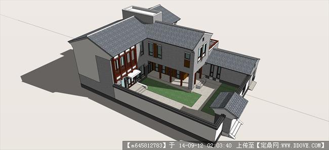 精品模型----中式新农村二层自建房建筑的
