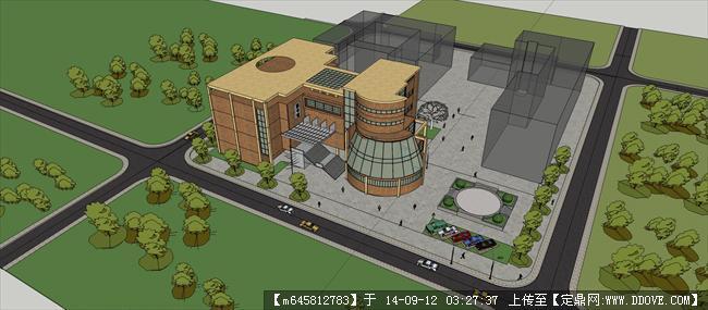 常用园林设计cad素材 中式学校规划设计方案su模型 原创图书馆建筑