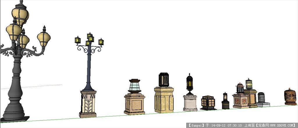 欧式花钵,灯柱,花池景观设计su模型图片