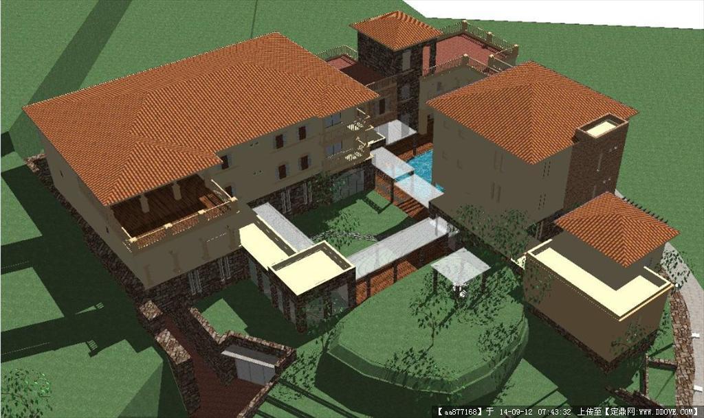 一个豪宅别墅建筑设计精细su设计模型
