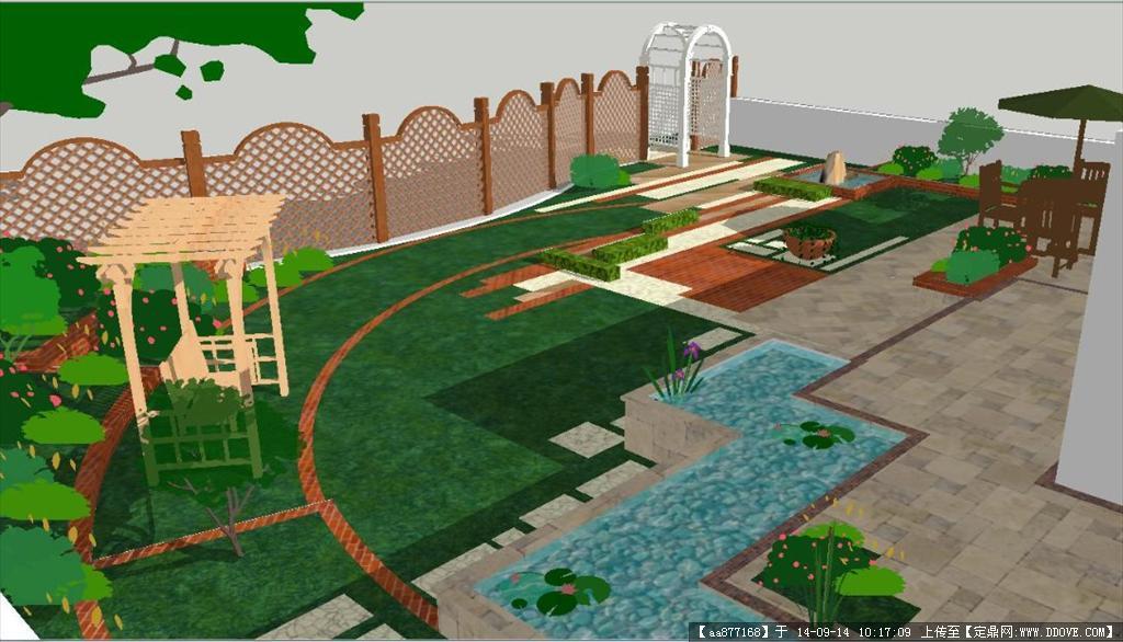 清新别墅庭院景观方案su精细设计模型