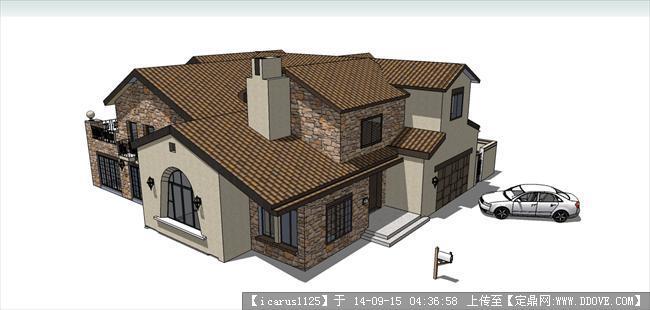 欧式别墅建筑设计大户型su模型