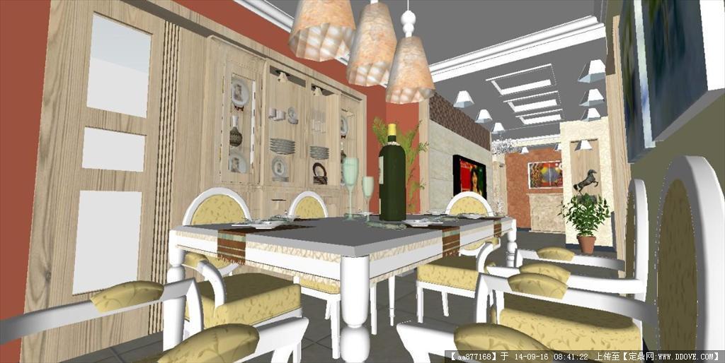 现代简约风格客餐厅装潢设计方案精细su设计模型