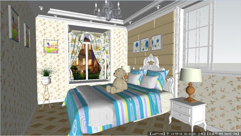 小孩卧室装潢设计方案精细su设计模型