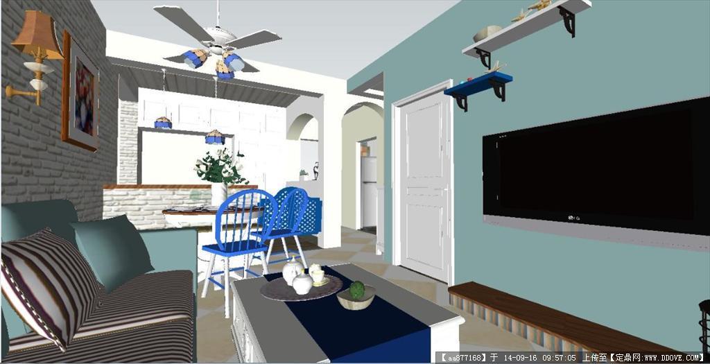 小户型地中海风格室内设计su精致设计模型