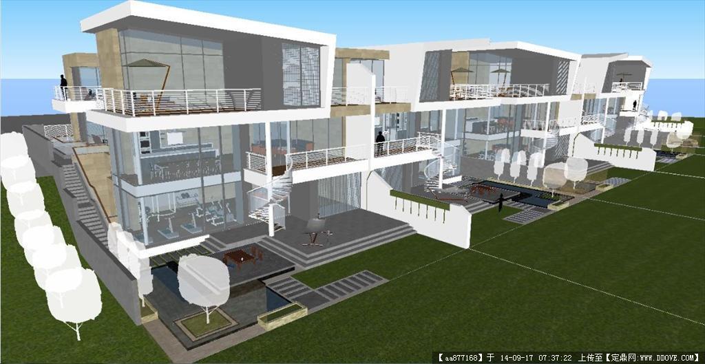 现代简约别墅(带室内装潢)su精细设计模型的下载地址