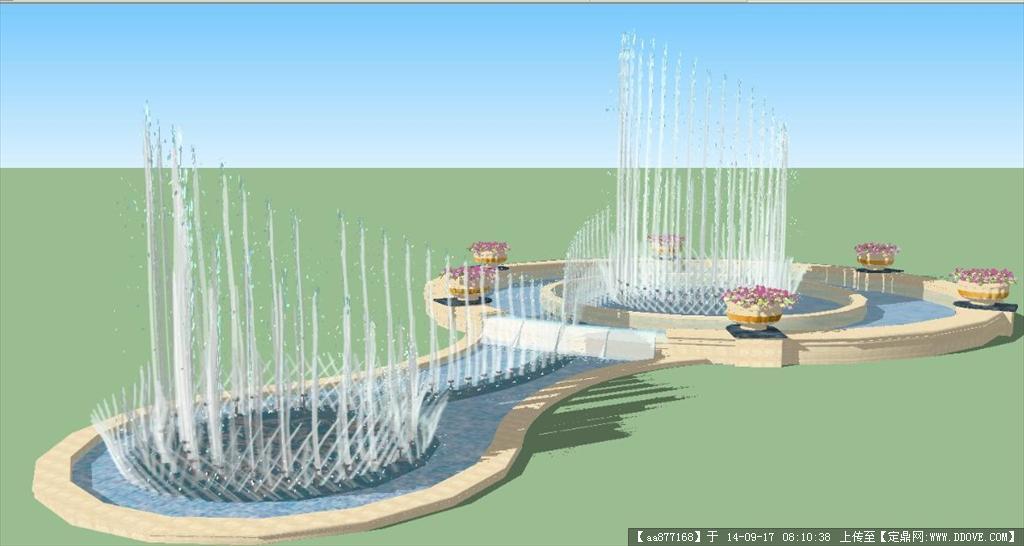一个交通转盘喷泉水景su精细设计模型