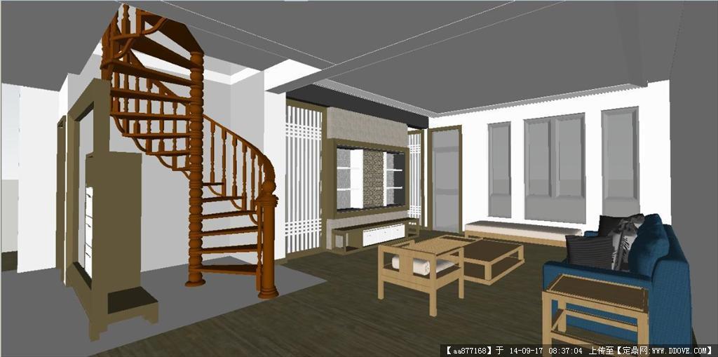 新中式别墅住宅室内设计方案su精细设计模型