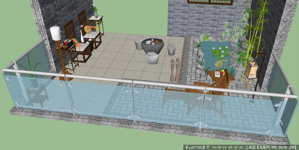 某阳台花园设计方案su模型 欧式花钵,灯柱,花池景观设计su模型 sketch