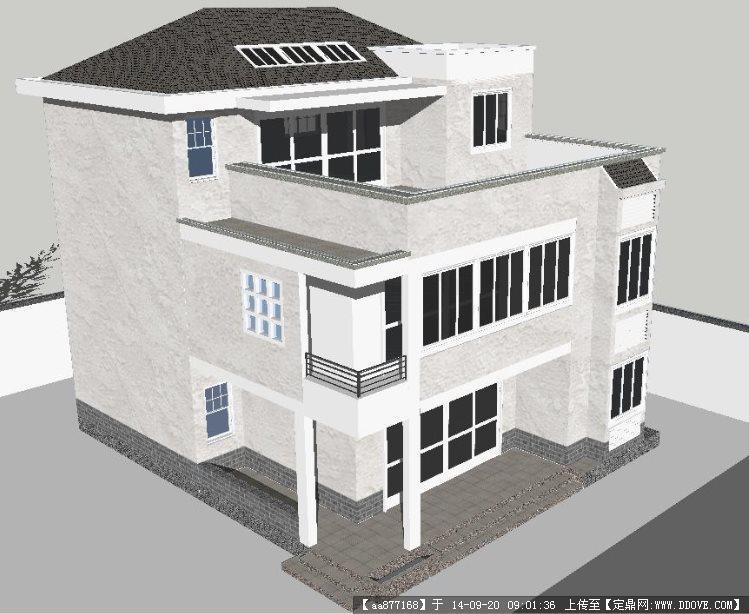 一栋新中式小别墅建筑设计su精致设计模型