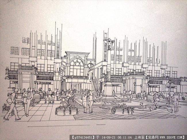 建筑手绘素描效果图的图片浏览