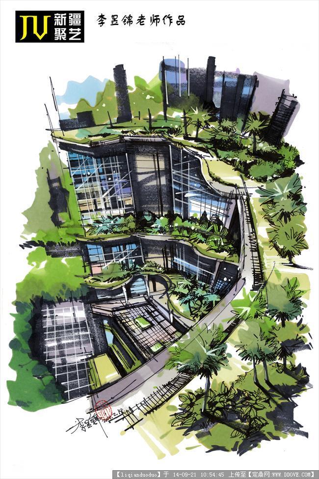 建筑园林设计手绘分享展示