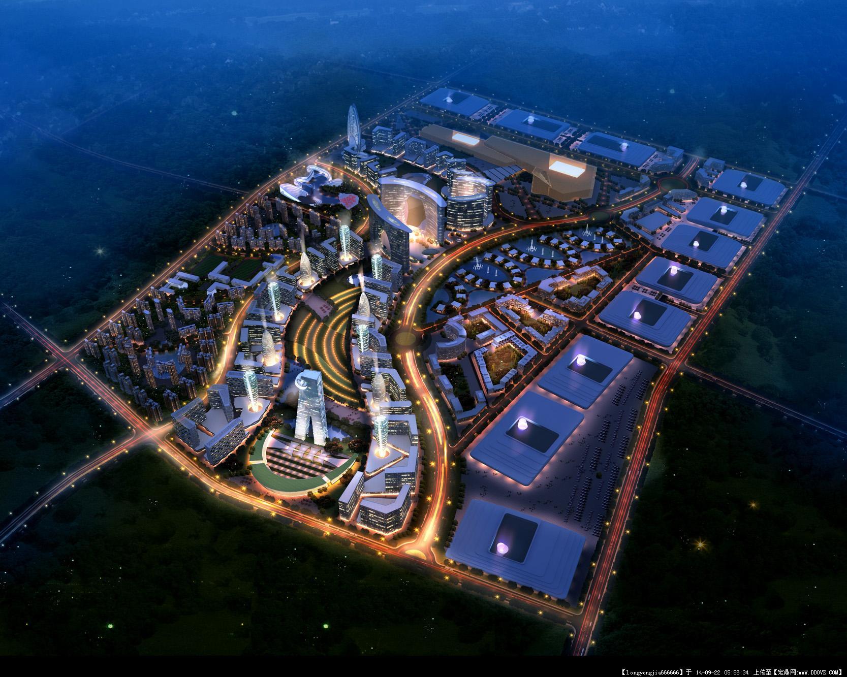 城市规划设计鸟瞰效果图 001