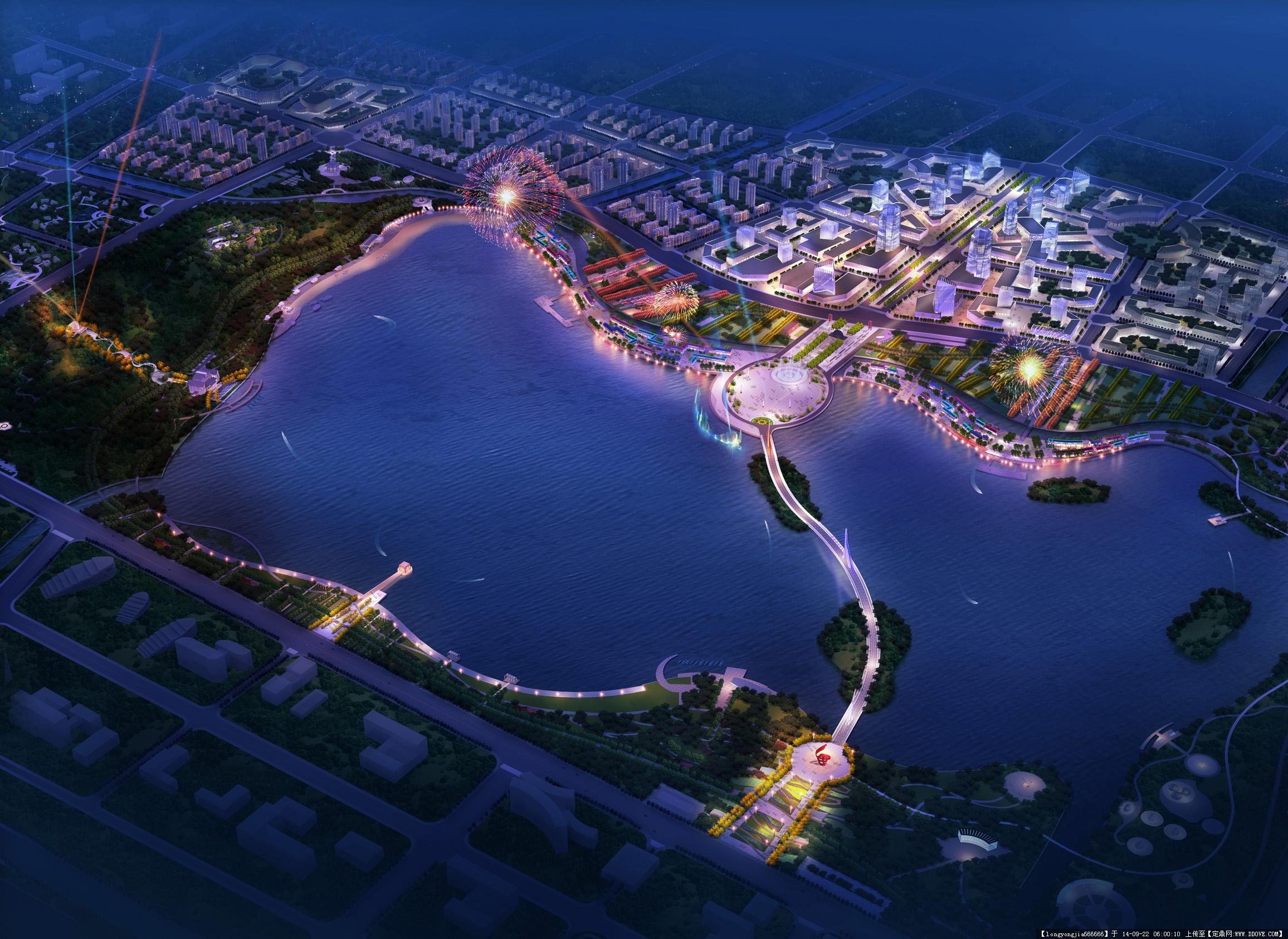 城市规划设计鸟瞰效果图 004