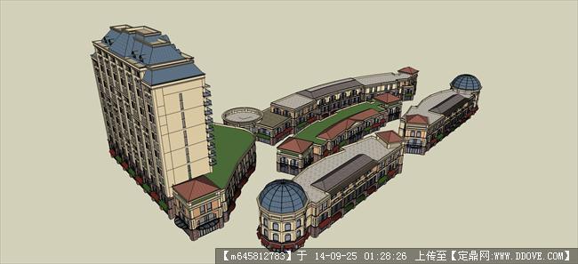 sketch up 精品模型----法式办公楼+欧式商业街区建筑设计模型