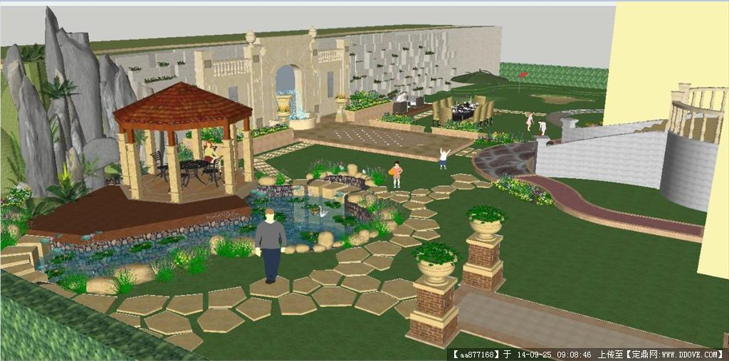 一个欧式别墅庭院景观方案su精致设计模型