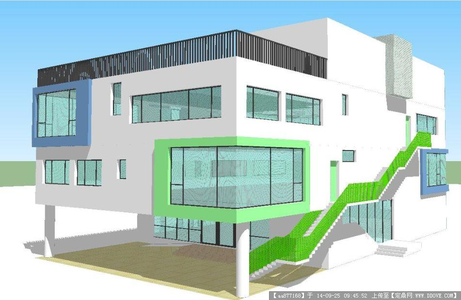现代简约幼儿园建筑设计方案su精致设计模型