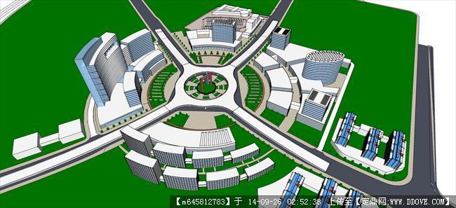 市道路交叉口城市设计su模型带彩色总平面