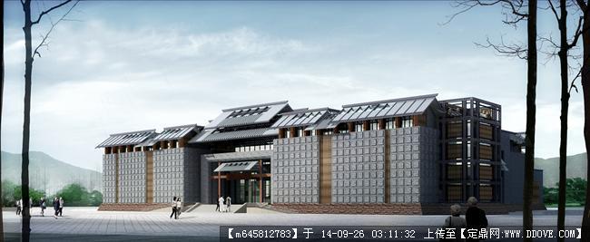 某中式风格纪念馆建筑设计su模型带效果图