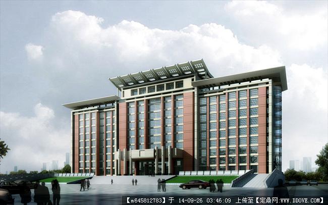 中高层办公楼su模型带效果图,建筑设计外观大气,模型详细,值