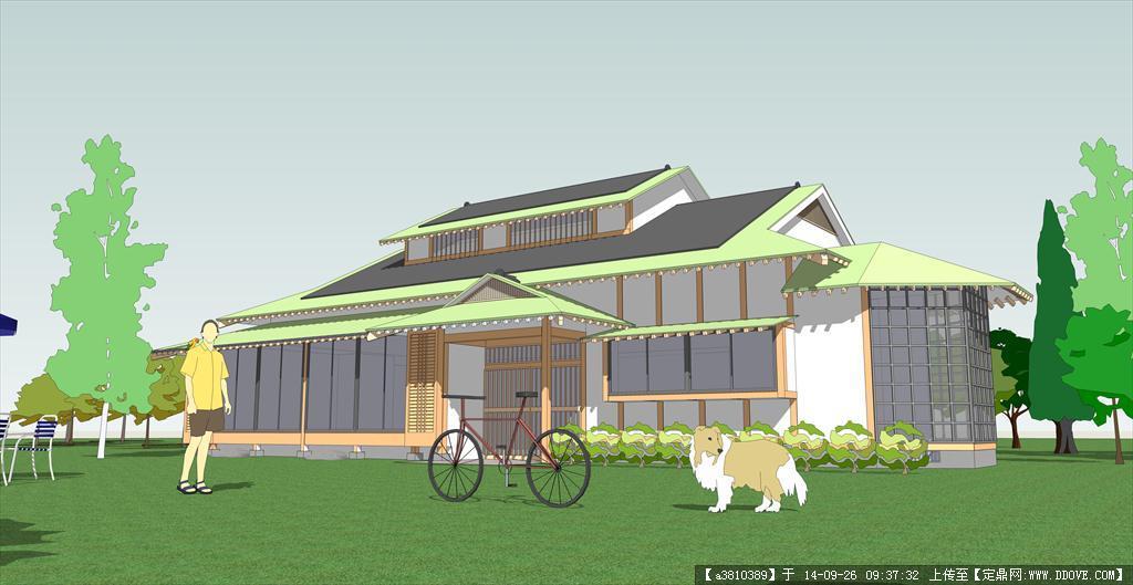 和式坡屋顶建筑效果图-坡屋顶别墅建筑设计方案su模型