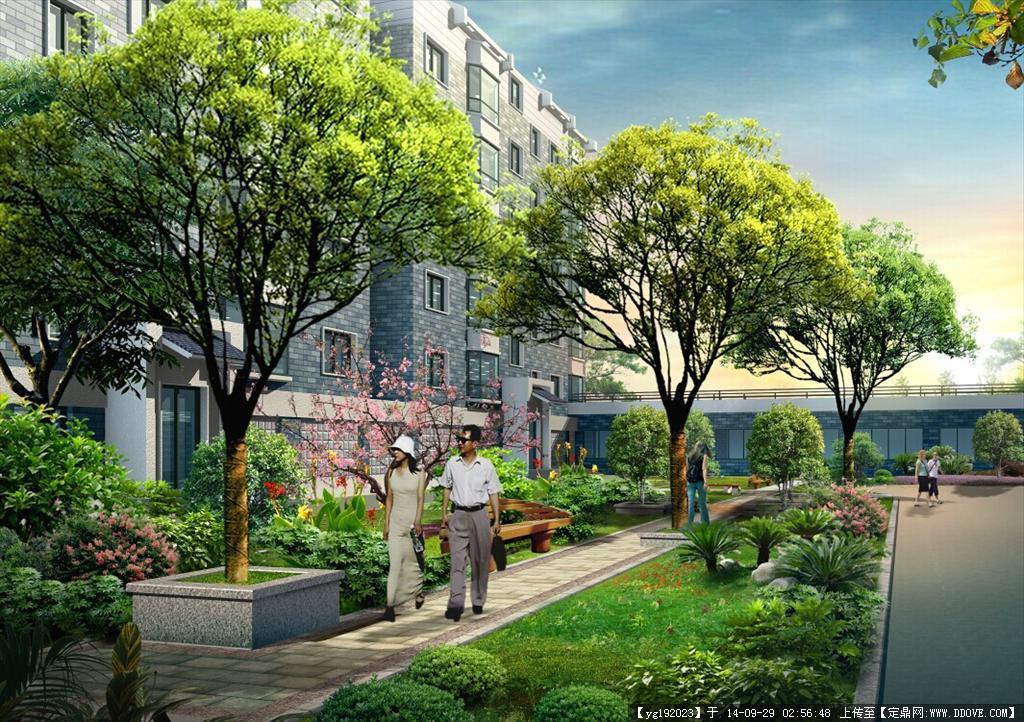 居住小区园林绿化效果图psd格式