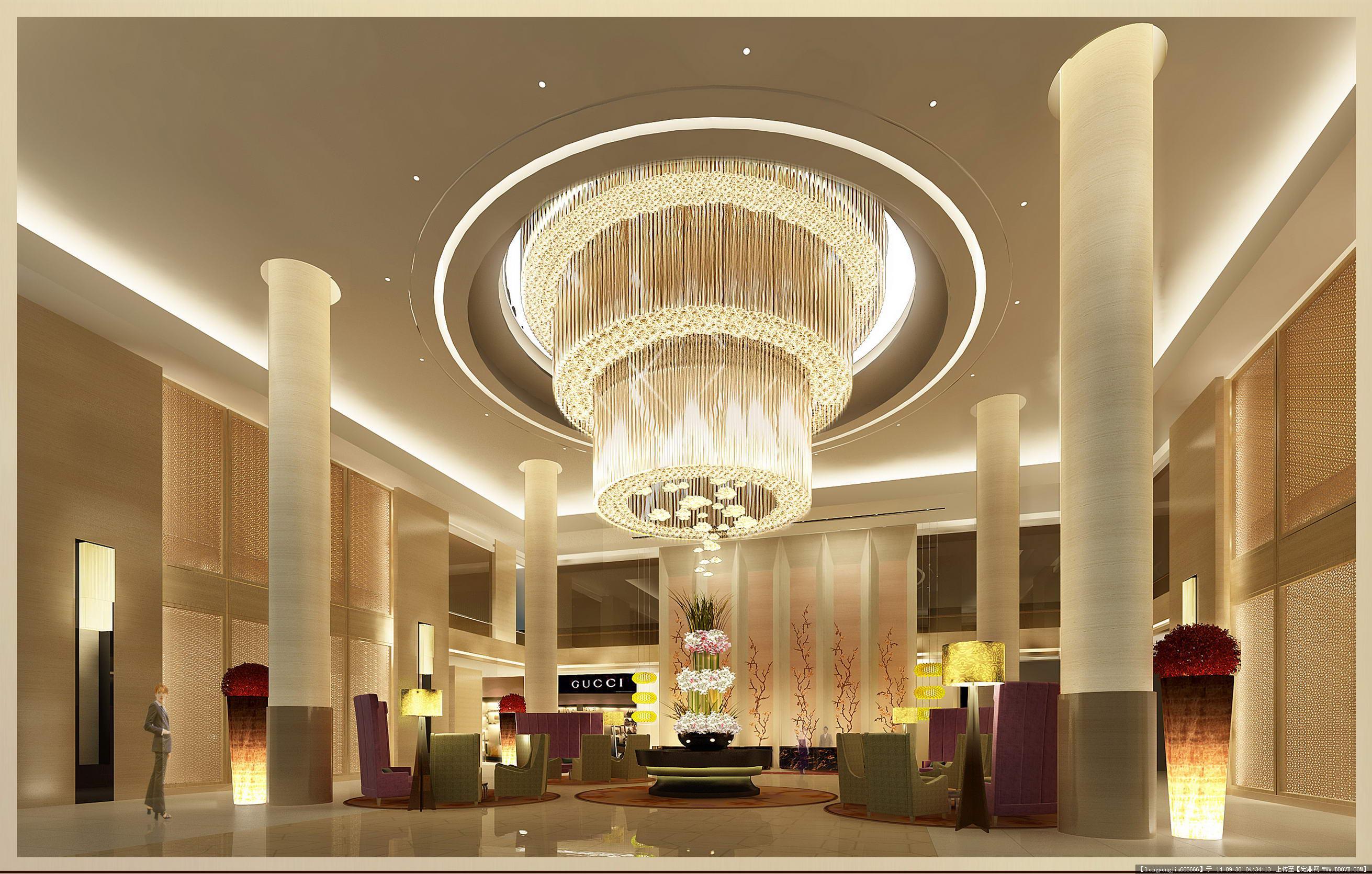 酒店大堂室内设计经典效果图 002