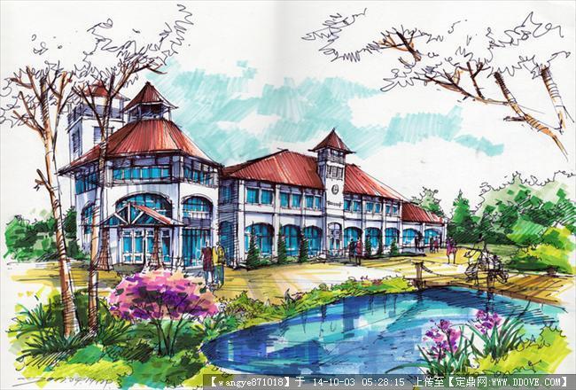 安鹏马克笔建筑设计手绘效果图