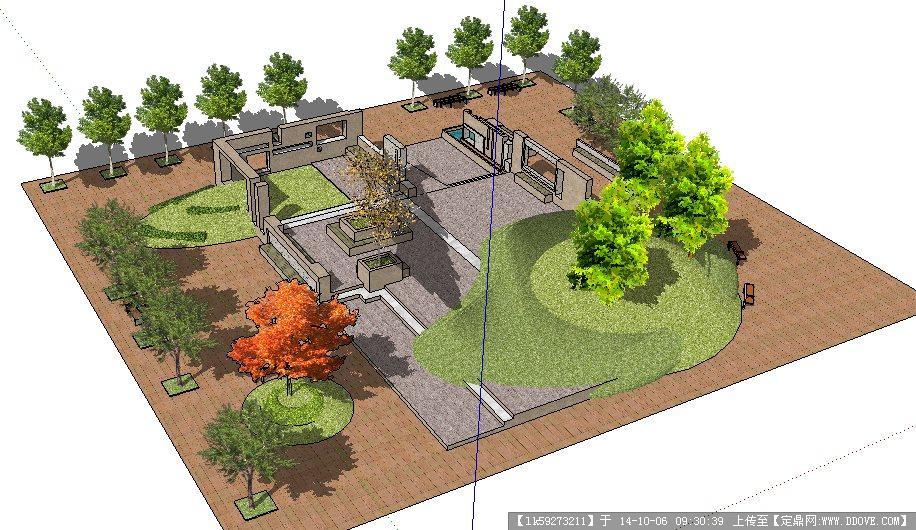 草图大师sketchup方形广场景观设计模型
