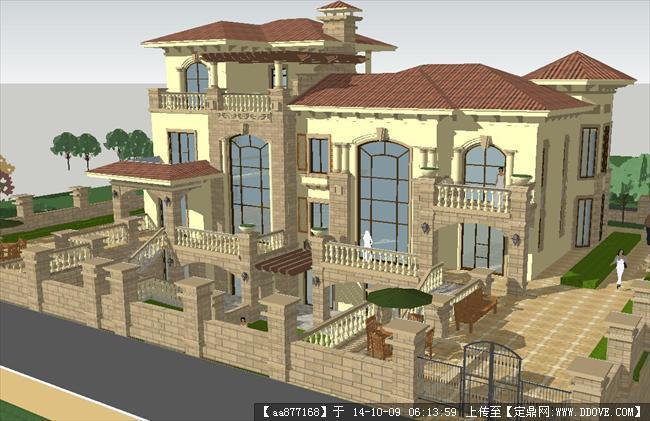 欧式西班牙住宅别墅su精致设计模型图片
