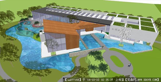 白桦林间小区会所建筑设计方案SU精致设计模型