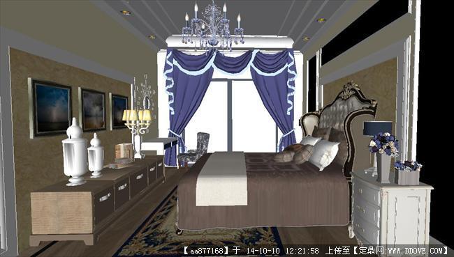 欧式风格主卧室内设计方案su精致设计模型