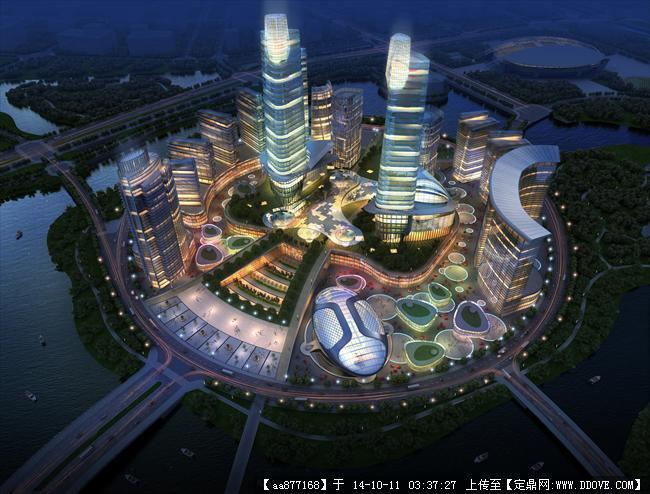 郑州高新区城市副中心规划设计鸟瞰效果图