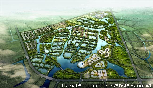 宜兴环科新城中央公园城市设计效果图,很漂亮的大型规划设