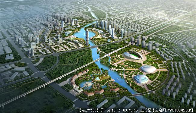 玉龙城市规划设计鸟瞰效果图,很漂亮的大型规划设计效果图,